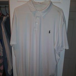 Men's white Ralph Lauren polo shirt performance ma